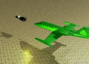 The green jet is nine feet above the ground. The twelve feet long missile is nine feet south of the plane. The sky is grass. The ground is [jungle]. The yellow light is one foot above the ground. The large silver ball and chain is one foot in the missile.