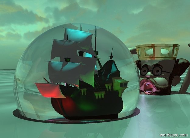 Input text: a 20 feet tall clear sphere.the ground is water.a tiny ship is -14 feet above the sphere.the sphere is 6 feet in the ground.a red light is in front of the ship.a cyan light is above the ship.the sun's altitude is 90 degrees.a green light is right of the ship.a violet light is left of the ship.the sun is aquamarine.the camera light is black.a 40 feet tall man is 15 feet behind the sphere.the man is 26 feet in the ground.a crown is -60 inches above the man.the crown is 4 feet tall.the crown is gold.a lavender light is in front of the man.the lavender light is on the ground.