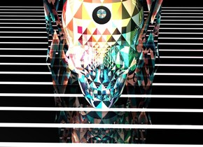 The clear cube is above the floor. The floor is [linex]. The ground is clear. The sky is clear. The floor is shiny. The floor is 30 feet above the ground. The cube is huge. The huge octopus is inside the cube.The octopus is [geometric]. The huge skull is -48 inches under the octopus. The skull is shiny. The huge opaque cube is under the floor. The cube is dark black. The huge opaque octopus is inside the cube. The octopus is upside down. The octopus is [geometric].The skull is [geometric]. A white light on the cube. The ambient light is pink. The camera light is on the skull. The skull is -18 inches in front of the cube. A small flat sphere in front of the skull. The sphere is 38 inches above the floor. The sphere is black. A tiny flat sphere is in front of the sphere. The sphere is 40 inches above the floor. The sphere is [geometric]