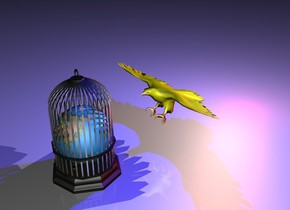 the globe fits inside the large shiny birdcage.  the matte yellow bird is 12 inches in front of the globe. the bird is facing the globe. the bird is leaning 20 degrees to back.  the huge white light is 2 inches south of the bird and 12 inches above the ground.  the small blue light is 36 inches above the bird.  the small red light is 36 inches south of the bird.  it is night.