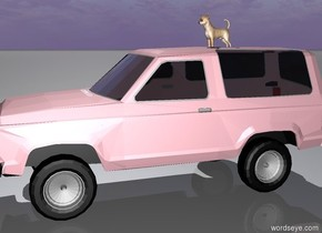Large dog on the pink car.