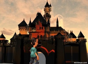 a castle.the castle is transparent.the ground is invisible.the camera light is gray.the ambient light is old gold.a boy is in front of  the castle.the boy is 290 inch tall.the boy is facing northeast.