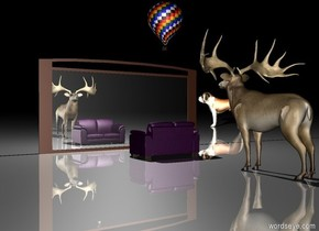 there is a purple couch.   there is a dog 36 feet southwest of the couch. the dog is facing southeast. the dog is 8 feet tall.  the very tiny hot air balloon is 5.5 feet above the couch.  there is a deer several feet north of the couch.  the ground is shiny.  there is a sixteen feet wide mirror five feet in front of the couch. the mirror is eight feet tall. the mirror is facing the couch.  there is a large light one feet above the mirror. it is night.