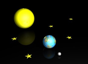 There is shiny globe. Ground is black. Sky is black. Small moon is 1 foot to the right of the globe. Huge Yellow shiny sphere is 5 feet to the left of the globe. Extremely enormous light is -5 feet to the sphere. It is night. There is light yellow small star 3 feet behind globe. It is facing up. There is second light yellow small star 4 feet to the left of the star. It is facing up. There is third  light yellow small star 2 feet in front of the globe. It is facing up. There is fourth light yellow small star 4 feet to the left of the third star. It is facing up. There is fifth light yellow small star 5 feet behind second star. It is facing up.