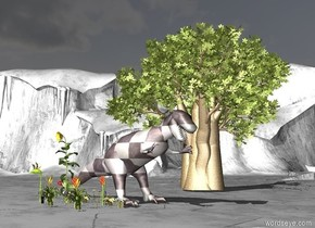There is a giant checkerboard dinosaur. Ground is green grey. Sky is dark. Giant Tree is on the right of the dinosaur. 12 very giant flowers are near the dinosaur. 12 very very  giant flowers are near the flowers