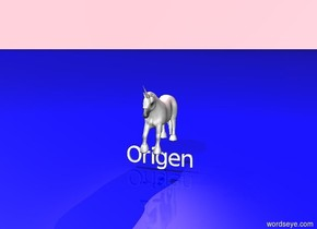 "A pink unicorn is standing. ""Origen"" is under the unicorn.  The sky is pink. The ground is blue. Pink light is above the unicorn."