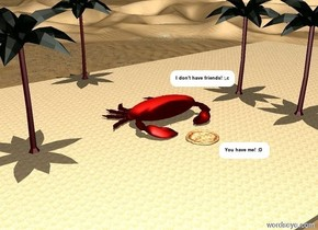 There is extremely enormous crab. There is beach. There is desert. There is palm 20 feet behind crab. There is second palm 4 feet to the right of the crab. There is third palm at front of second palm. There is fourth palm 7 feet to the left of the crab. There is giant pizza at front of crab. It is noon.