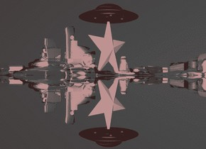 a black airplane. second white airplane is 2 inches right of the airplane. third black airplane is 2 inches right of the second airplane. 40 feet tall white star behind the second airplane. ground is  silver. sky is black. big red ufo on the star.