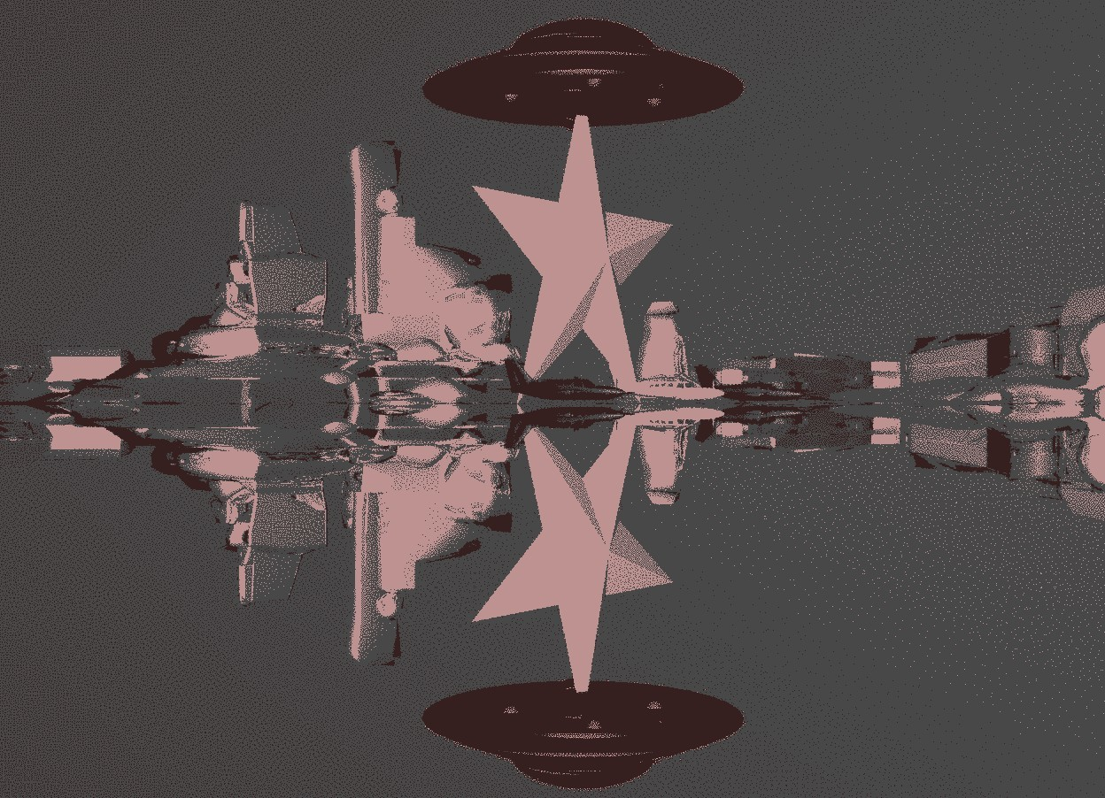 Input text: a black airplane. second white airplane is 2 inches right of the airplane. third black airplane is 2 inches right of the second airplane. 40 feet tall white star behind the second airplane. ground is  silver. sky is black. big red ufo on the star.