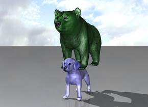 The tiny green bear is on the blue dog.