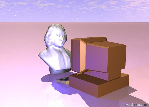 Input text: The computer is facing the statue. The statue is facing the computer. There is a blue light in front of the computer. The ground is pink.
