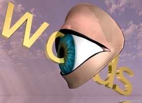 """a 3 feet tall eye.the""""words""""is -40 inches above the eye.the """"words"""" is facing to the right.the """"words""""is leaning 20 degrees to the left.the""""words""""is gold.the ground is silver.the sun is pink.the sun's altitude is 90 degrees."""