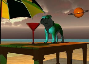 the green dog is on the dining room table. the table is on the beach. the ground is water.  the eight foot tall umbrella is next to the table.  the orange light is above the dog.  the cyan light is 2 feet in front of the dog.  the 12 inch tall red martini glass is 3 inches in front of the dog.  the enormous saturn is 80 feet behind the dog. it is 22 feet left of the dog and 20 feet above the ground. it is leaning forward. the camera light is black.