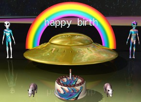 """the sky is [galaxy].  the ground is [tyle].  a gold ufo.  [gradient] """"happy birth"""" 1 foot above ufo.  a large [holo] alien 2 feet right of ufo.   a large [jazz] alien 2 feet left of ufo.   a very small rainbow behind ufo.  a giant  [k] cake 5 feet in front of the ufo.     a big pink opossum 2 feet left of cake.  a big pink opossum 2 feet right of cake.  a  very tall cigarette on top of cake."""