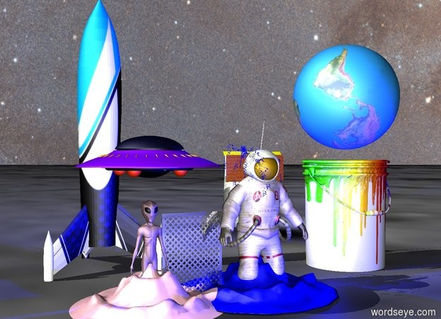 Input text: A giant pink man is -8 foot above a tiny blue mountain. Giant blue light 2 foot in front of mountain. Giant blue light 1 foot above green man. Giant blue light on right of mountain. Giant blue light 1 foot left of mountain. Giant blue light right of man. Giant blue light 1 foot left of man. Giant blue light 1 foot in front of man. The sky is [Space2]. the tiny blue tree is -13.5 foot above the pink man. A blue light is above the tree. The ground is unreflective. A enormous yellow squeegee is 8.25 feet above the blue mountain. A small wooden wall is 10.25 feet above the mountain. A large silver frame is -20 inch to the left of the pink man. A giant pink alien is -1 foot to the left of the frame. A ufo is 3 feet above the alien. A large rocket is 20 feet behind the alien. A tiny pink mountain is -15 foot above the alien. The ground is [moong]. The ground is unreflective. An upside down enormous earth is 20 feet above the green man. The rocket is [sup]. An enormous bucket is -2 foot above the green man. The bucket is [dripping].