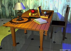 a table.a pipe is on the table.a laptop is right of the pipe.a cigarette lighter is 2 inches left of the pipe.a chair is right of the table.the chair is facing the table.the laptop is facing the chair.a cup is 5 inches behind the laptop.a book is 5 inches in front of the laptop.the book is facing the chair.a pen is 1 inch left of the book.the pen is facing down.a circuit board is 2 inches behind the pen.a lamp is 6 inches left of the pen.a fruit is 10 inches behind the cigarette lighter.a molecule is 2 inches in front of the lamp.the molecule is .5 feet tall.a yellow light is in the lamp.the ground is tile.a wall is 1 feet behind the table.the wall is wood.it is night.the chair is facing right.a blue light is above the laptop.