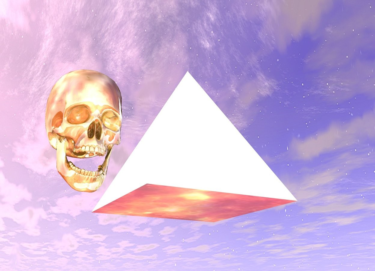 Input text: The huge pyramid is 3 feet off the ground. The ground is fire. The pyramid is reflective. There is a giant glass skull next to the pyramid.