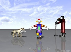 there is a fireman. 4 wolves face the fireman. The fireman faces the wolves. The fireman is 10 feet in front of the wolves. A clown and a baby are between the fireman and the wolf. The clown and the baby are facing the camera