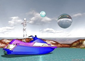 There is sea. There is a enormous pink boat 0.1 meters above the sea. There is a huge pink skeleton on the boat. There is a gigantic moon 10 feet in front of the boat. The moon is transparent. The moon is 10 meters above the sea. There are stars. There is an enormous cyan sphere 10 meters to the right of the moon. The sphere is 18 meters above the sea. The sphere is reflective. There is a cyan light to the left of the boat.