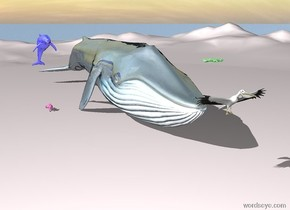 The blue whale sits on the ground. The ground is pale pink. The whale is shiny. A huge rabbit sits 4 feet to the left of the whale. The rabbit is hot pink.  A large blue dolphin sits 10 feet above the ground. The dolphin is 3 feet to the left of the whale. The dolphin is shiny. A shiny green fish sits 15 feet above the ground. The shiny green fish sits  in front of the whale. A very large yellow bird sits 5 feet in front of the whale. The yellow bird is 8 feet above the ground.