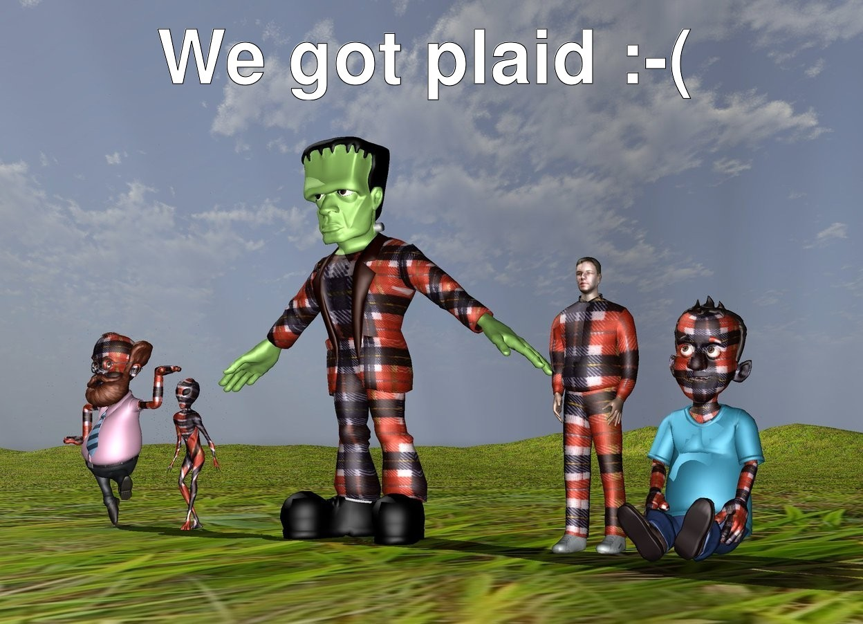Input text: the 5 plaid people. the ground is grass.