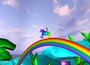 The penguin on the [rainbow] unicorn. the unicorn is 100 feet above the ground. a rainbow is under the unicorn.