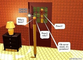 1st 10 feet long and 12 feet tall [wood]wall is left of a door. 2nd 10 feet long and 12 feet tall [wood] wall is right of the door. a 4 feet tall [wood] wall is above the door. a [tile] floor is in front of the door. 1st 5.5 feet tall pencil is 3 feet in front of the door.  2nd 5.9 feet tall pencil is 1 feet behind the door. a yellow light is in front of the 2nd pencil. a table is 1 feet left of and 0.8 feet in front of the door. a lamp is -0.1 feet above and -1.3 feet to the front of the table. a beige light is -4 inches above the lamp. the camera light is dim beige. the ambient light is tangerine. the sun's altitude is 85 degrees. the sun's azimuth is 68 degrees. the sun is pink. a  large north star is -1.2 feet left of  and 0.2 feet in front of the door. it is 4 feet above the floor
