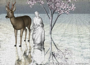 The white woman is standing. The ground is reflective. The ground is glass. The plant is behind the woman.  The large deer is 1 foot to the left of the woman. The light is above the ground.