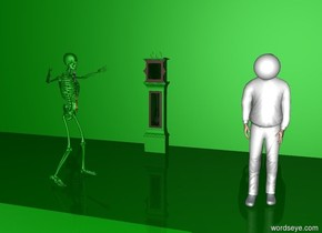 the white ball is -1 feet above and -1.3 feet behind the white man.  the green grandfather clock is 5 feet behind and 5 feet left of the man.  the green skeleton is 7 feet left of the man.  the green skeleton is facing east.  the rainbow shirt is facing east.  the rainbow shirt is -2.7 feet above and -.5 feet right of the skeleton.  the 500 foot wide 50 foot tall green wall is 7 feet behind the man.  the ground is green.