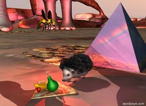 the purple light is on the right of the hedgehog. the red light is on the left of the hedgehog. a large pyramid 1 foot behind the hedgehog is [rainbow]. in front of the hedgehog is a pizza. 1 foot above the pizza is a huge bee. the bee is facing the right. on the pizza is a strawberry.  on the pizza is a green pear. the strawberry is in front of the pear.next to the pear is a small banana. next to the bee is a small elephant.