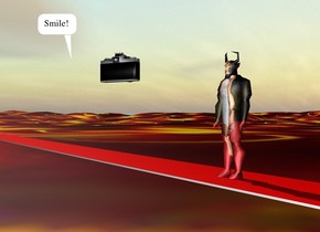 The [prada] devil is on the carpet. The carpet is 100 feet long. It is red. The large camera is 7 feet in front of and 2 feet to the right of the devil. It is 4 feet above the ground. It is facing the devil. the [lava] texture is on the ground. the texture is 50 feet tall.