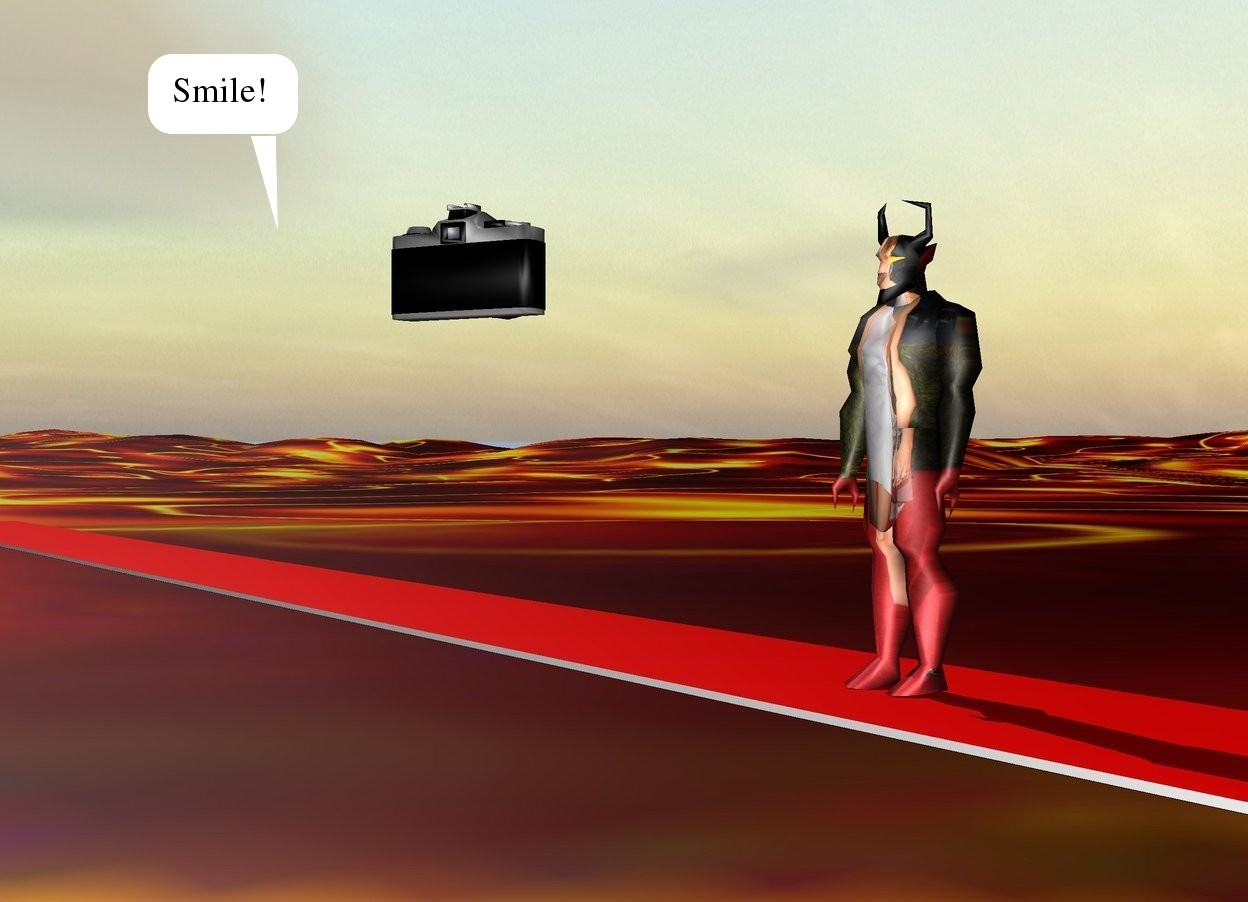 Input text: The [prada] devil is on the carpet. The carpet is 100 feet long. It is red. The large camera is 7 feet in front of and 2 feet to the right of the devil. It is 4 feet above the ground. It is facing the devil. the [lava] texture is on the ground. the texture is 50 feet tall.