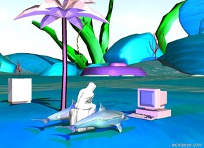 a small shiny dolphin is to the right of the small statue. Other small shiny dolphin is to the left of the statue. The pink computer is facing the statue. The pink computer is three feet in front of the statue. The tiny pink tree is three feet from the white computer. There is a blue light on the statue.