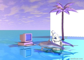 a small shiny dolphin is to the right of the small statue. Other small shiny dolphin is to the left of the statue. The pink computer is facing the statue. The computer is three feet in front of the statue. The tiny pink tree is six feet from the pink computer. There is a blue light on the statue. The shiny ground is teal. The wall is facing the statue. The wall is six feet from the tree