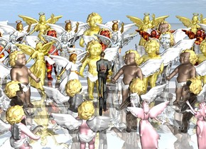 the woman is -12 inches above a pair of 3 foot long guns. the guns are leaning 90 degrees to the front.  8 8 foot tall angels are on the ground in front of the woman. they are facing the woman.  7 9 foot tall gold angels are on the ground 6 feet in front of the woman. they are facing the woman.    8 10 foot tall silver angels are on the ground 12 feet in front of the woman. they are facing the woman.   11 10.5 foot tall fire angels are on the ground 18 feet in front of the woman. they are facing the woman.  10 12 foot tall angels are on the ground 24 feet in front of the woman. they are facing the woman.  9 14 foot tall gold angels are on the ground 30 feet in front of the woman. they are facing the woman.  6 6 foot tall transparent angels are on the ground behind the woman. they are facing the woman.   4 5.2 foot tall pink angels are 0 feet above the ground 6 feet behind the woman. they are facing the woman.    the ground is shiny.