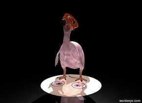 a 20 feet tall dull dodo.  A 1.7 feet tall shiny crown is -4.4 feet above and -8.4 feet in front of and -9.1 feet left of the dodo. It leans 50 degrees to the left. it is facing southeast. the sky is silver.  a 20 feet tall pale silver green shiny emoticon is below the dodo. it leans 90 degrees to the front. it is -2 feet above the ground. the ground is shiny black. there is a white light 5 feet above the dodo. the ambient light is pink. the camera light is black. it is night.