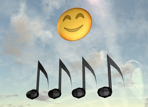 4 Music notes are 300 feet above the ground. an emoji is behind and a foot above the notes.