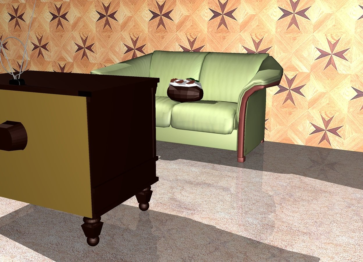 Input text: There is a couch. A large potato is on the couch. The ground is carpet. A wall is behind the couch. A tv is a few feet in front of the couch. it is facing the couch. the wall is [texture].