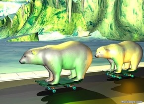 1st skateboard is left of a 2nd skateboard. 1st polar bear is -0.2 feet above and -1 feet right of the 1st skateboard. 3rd skateboard is 3 feet behind the 1st skateboard. 4th skateboard is left of the 3rd skateboard. 2nd polar bear is -0.2 feet above and -1 feet right of the 4th skateboard.  a 300 feet long road is 0.1 feet below the 1st skateboard.  a orange light is right of the 2nd  bear. a green light is right of the 1st bear. a yellow light is above the 1st bear