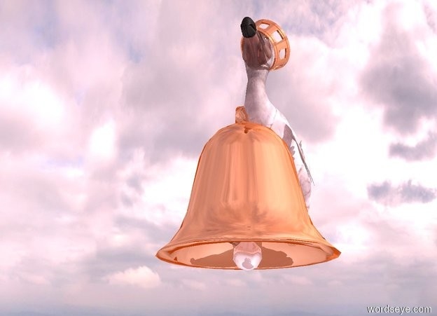 Input text: A 15 feet tall shiny bell is 20 feet above the ground. a 20 feet tall dull dodo is -12 feet above and -14 feet left of and -21 feet in front of the bell. A 1.7 feet tall shiny crown is -4.4 feet above and -8.4 feet in front of and -9.1 feet left of the dodo. It leans 50 degrees to the left. it is facing southeast. there is a white light 5 feet above the dodo. the ambient light is pink. the camera light is black. it is morning.