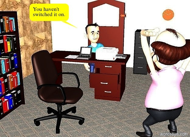 Input text: a wall. a cabinet is in front of the wall.a second wall is left of the wall.the second wall is facing left.a door is 1 feet left of the cabinet.a desk is 5 feet in front of the door.a chair is 1 feet in front of the desk.the chair is facing right.a bookcase is 2 feet left of the chair.the bookcase is facing the chair.a clock is 1 feet above the cabinet.the clock is 1 feet right of the cabinet.a computer is on the desk.a paper is 1 inches left of the computer.a printer is 6 inches right of the computer.a cup is on the cabinet.the wall is wood.a man is 2 feet right of the chair.the man is facing the chair.a boy is behind the desk.the ground is carpet.the ground is unreflective.the sun's altitude is 90 degrees.the boy is facing the man.the man is facing the boy.it is night.the ambient light is white.