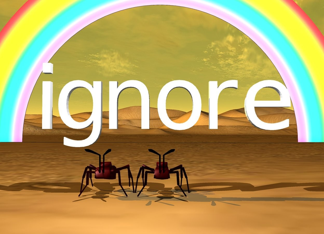 "Input text: the very enormous ants are under the ""ignore"". the desert.  the small rainbow is 40 feet behind the ants.  a white light is 3 feet above the ants.  it is in front of the ants. the sun is orange."
