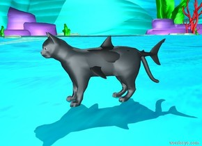 There is a giant cat. There is a fish -7 feet behind the cat. The fish is 2.5 feet tall. The fish is 1.7 feet above the ground. The fish is dark gray. The ambient light is sky blue.