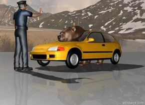 There is a car. There is a bear -4 feet above the car. There is a man in front of the car. The man is facing the car.