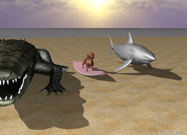 Input text: The dachshund is on a pink surfboard. The surfboard is on the beach. There is an alligator one foot to the left of the dachshund. There is a grey shark one foot to the right of the dachshund.