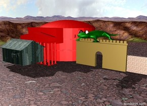 There is a shack.  The shack is made of wood.  The shack's walls are brick.  There is a small red roman temple behind the shack.  A lizard is on the roof.  The lizard is green.  The lizard is 12 meters long.