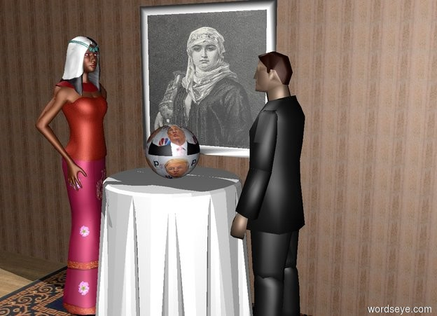 Input text: the [trump] sphere is on an end table. the ground is wood. a rug is under the end table. a wooden wall  behind the table. a portrait is 9 inches behind the sphere. the portrait is 3 inches above the table. a woman is next to the table.  the woman is facing the table. a man is to the right of the table. the man is facing the woman. the man is 62 inches tall.