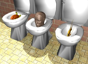 A fish is in a toilet. a head is in a toilet. the ground is tile.  a fish is in a toilet.a  large wall is behind the toilets.