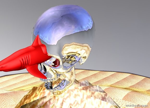 Input text: The big silver skull is on top of the glass mountain.  There is a tiny red shark in the eye of the skull.