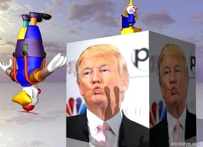 the upside down clown is facing the very huge [trump] cube. the clown is 5 feet away from the cube. the clown is 3 feet above the ground.  the huge jack in the box is on the cube.  the ground is shiny.